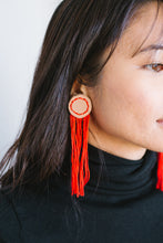 Load image into Gallery viewer, Red Leather Fringe Earrings
