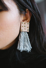 Load image into Gallery viewer, Knotted Leather Fringe Earrings
