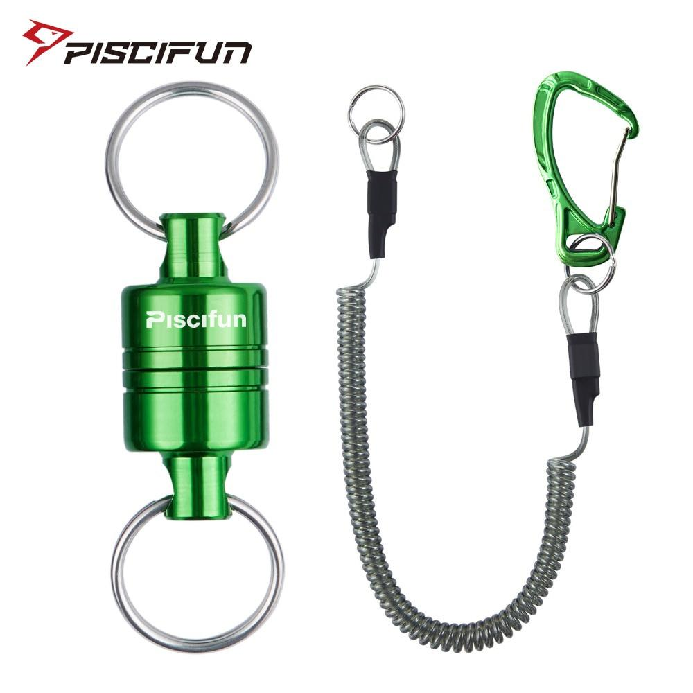 Piscifun Magnetic Net Release Fly Fishing Aluminum Strong Train Net Holder 7.7LB Lanyard Cable Pull 3.5KG Green/Silver/Black - Fishing Manor