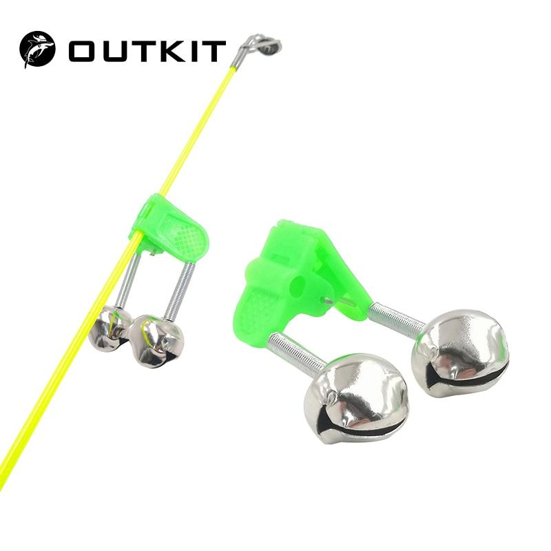 OUTKIT 5pcs/lot Fishing Bite Alarms Fishing Rod Bell Rod Clamp Tip Clip Bells Ring Green ABS Fishing Accessory Outdoor Metal - Fishing Manor