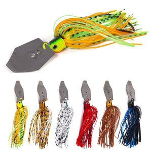 6pcs 11g Chatterbait Blade Bait with Rubber Skirt Weedless Fishing Lure Set Mixed Color