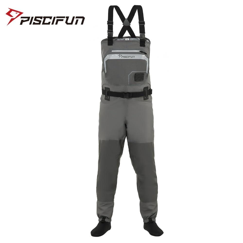 Piscifun 3-Layer Breathable Waterproof Fishing Chest Waders with Phone Case - Fishing Manor
