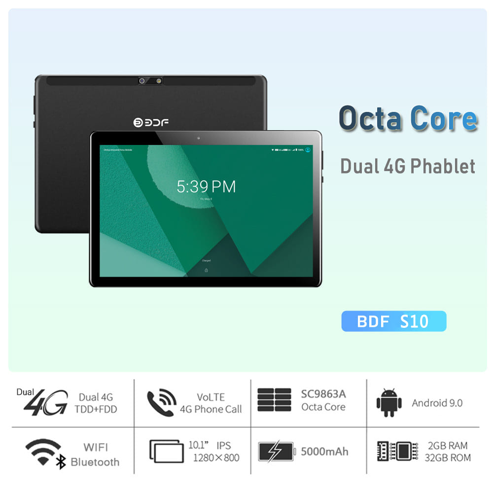 """Tablet 4G lte 10.1"""" Android 9.0 Octa Core Google Play Dual GPS Bluetooth WiFi"""