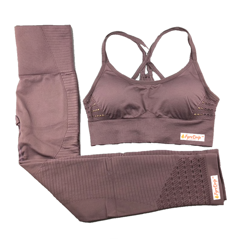 Always Right Active Seamless Sports Bra Set - Dusty Rose - FyreDrip