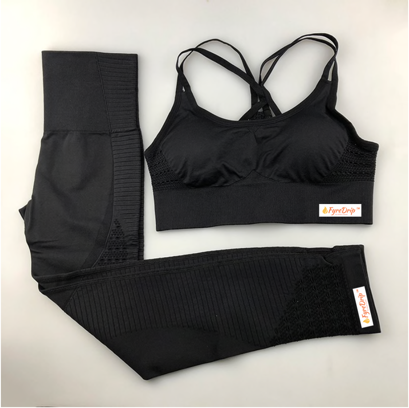 Always Right Active Seamless Sports Bra Set - Black - FyreDrip