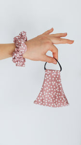 Kids Face Mask - Scrunchie Combo - Pink Polka