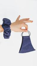 Load image into Gallery viewer, Kids Face Mask - Scrunchie Combo - Navy