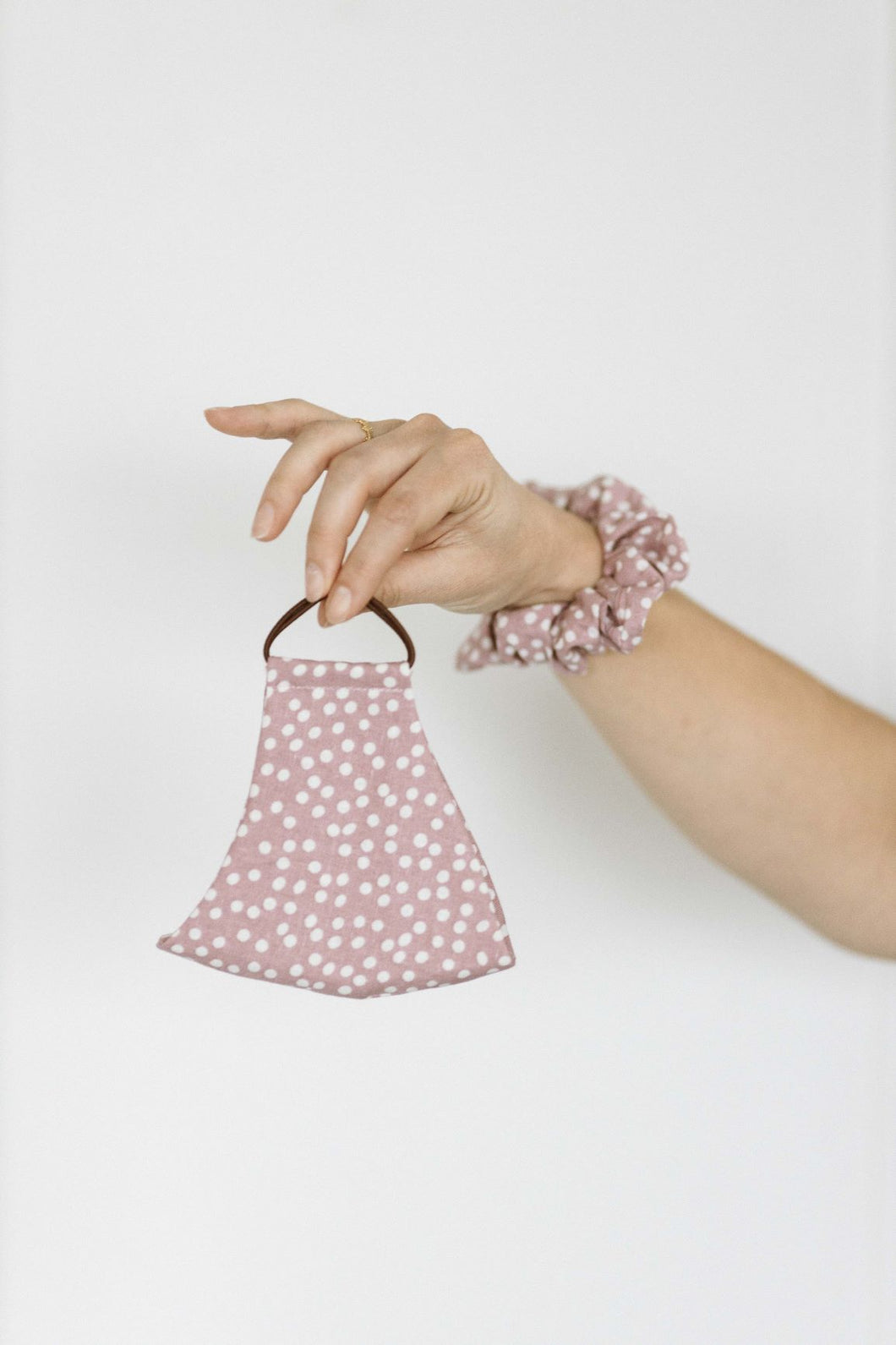Face Mask - Scrunchie Combo - Pink Polka Print