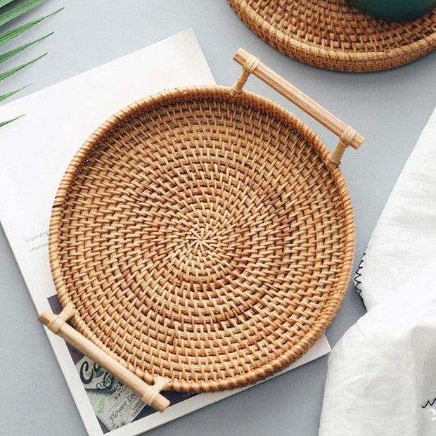 Rattan Storage Tray, Round Basket with Handle, Hand-Woven, Rattan Tray Wicker Basket Bread Fruit Food Breakfast Display L