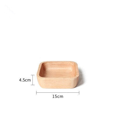 Japanese Round/Rectangle/Square/Oval Rubber Wood Pan Plate Fruit Dishes Saucer Tea Tray Dessert Dinner Bread Wood Plate