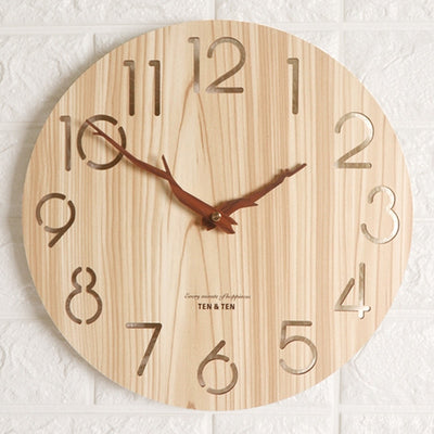 Wooden 3D Wall Clock Modern Design Nordic Children's Room Decoration Kitchen Clock Art Hollow Wall Watch Home Decor 12 inch