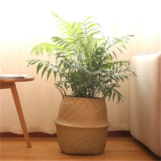 Hot Foldable Natural Seagrass Woven Storage Basket Pot Garden Flower Vase Hanging Wicker Basket Bellied Basket Household Storage