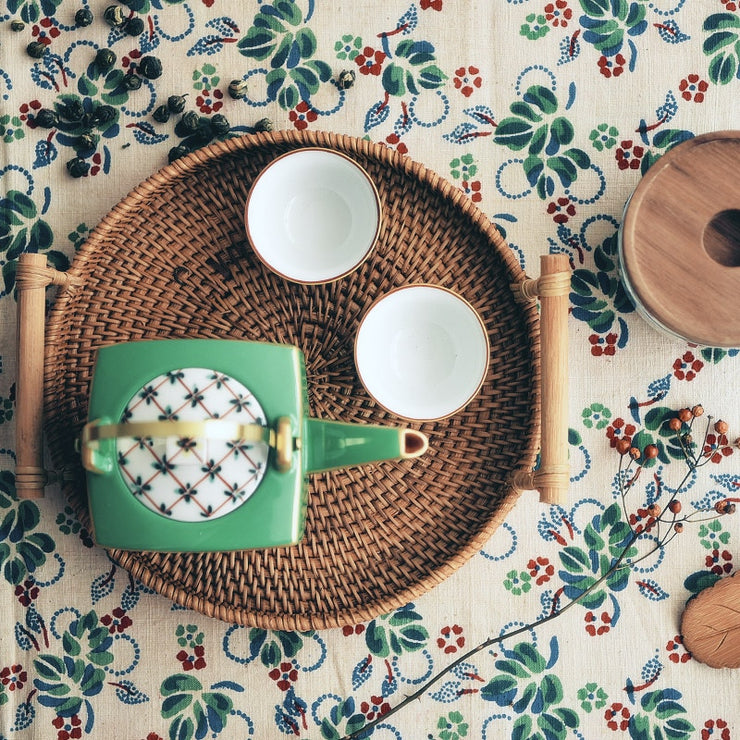 Vietnam imports handmade rattan tray disc bread fruit snack tea cup tea table coffee table storage basket  WJ031024