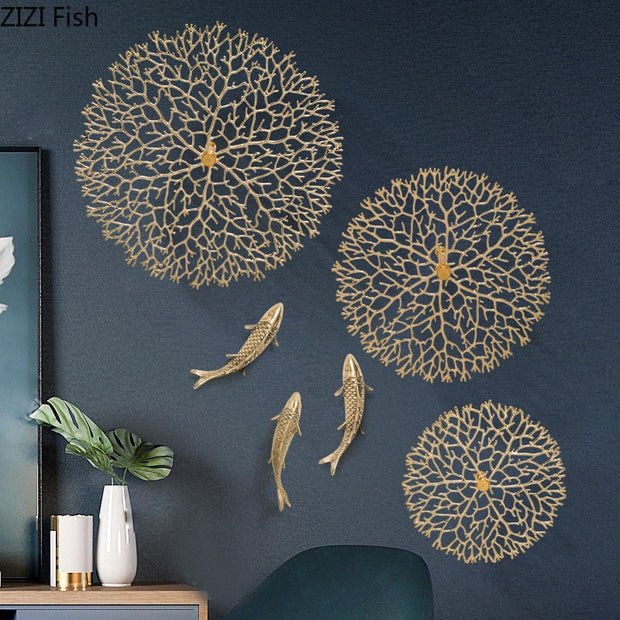 Simplicity Wall Decoration Lucky Coral Carp Lotus Leaf Hang Ornaments Copper Pendant Backdrop Display American Rustic Home Decor