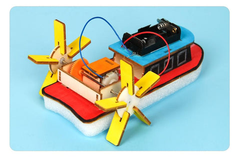 Image of Kid's Wooden DIY Electric Motor Boat
