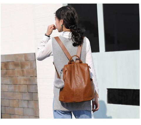 Vfemage High Quality Leather Backpack Women