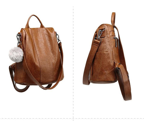 Image of Vfemage High Quality Leather Backpack Women