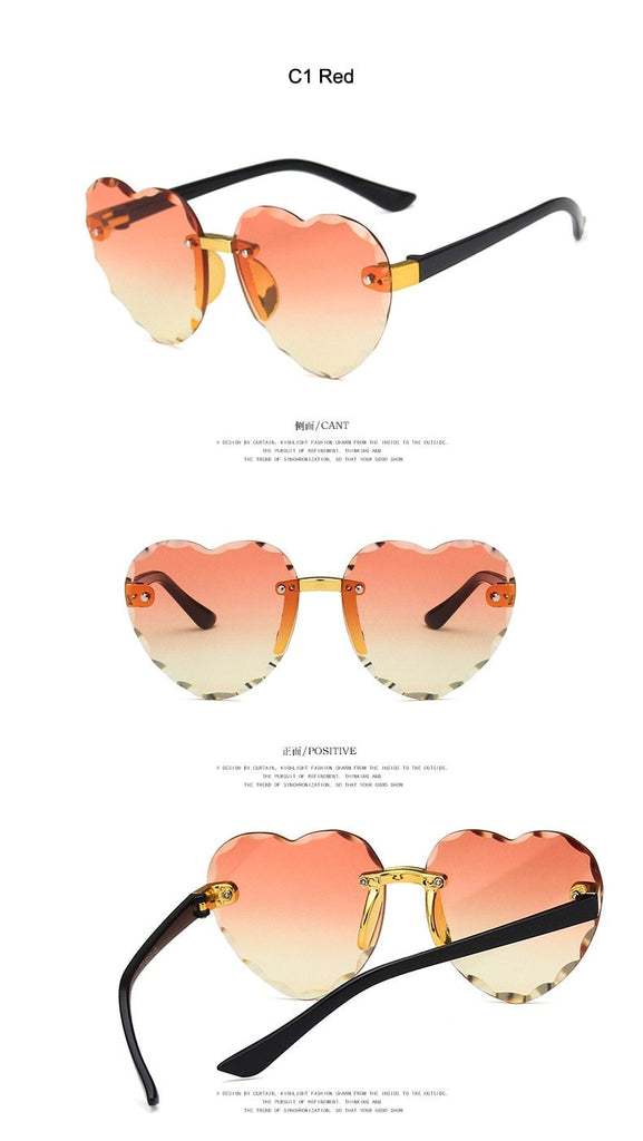 Cute Heart Rimless Frame Sunglasses for Kids