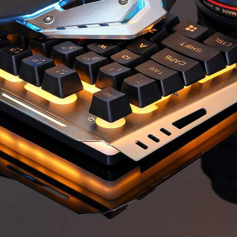 V1 USB Wired Ergonomic Backlit Mechanical Feel Gaming Keyboard and Mouse Set Gamer Laptop Computer Gaming Set