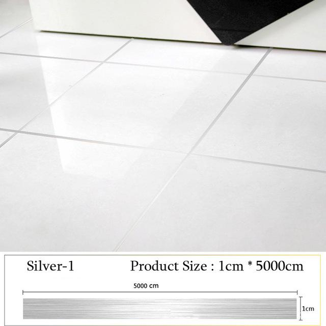 Roll Brushed Gold Silver Floor Edging Waterproof Seam Wall Sticker