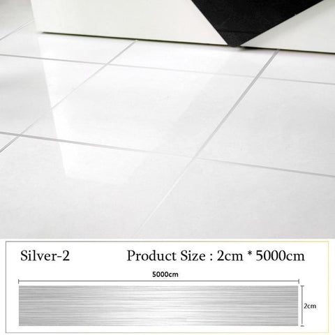 Image of Roll Brushed Gold Silver Floor Edging Waterproof Seam Wall Sticker