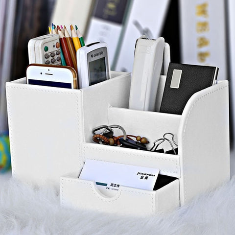 Image of PU Leather Multifunctional Pencil Organizer