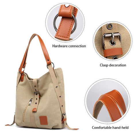 Image of Canvas Backpack Shoulder Bag with Extra Large Capacity