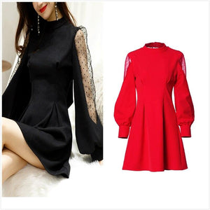 Women's Bowknot Mesh Lantern Sleeve Dress