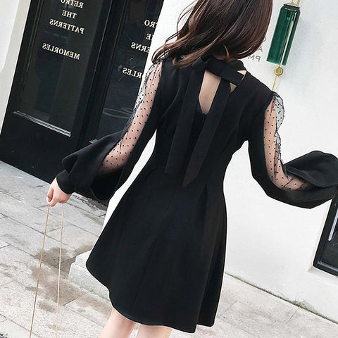 Image of Women's Bowknot Mesh Lantern Sleeve Dress