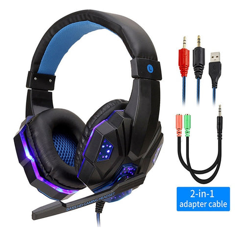 Image of Professional Led Light Gamer Headset for Computer PS4 Gaming Headphones Adjustable Bass Stereo PC Wired Headset With Mic Gifts