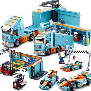 F1 compatible race car speed racer repair building block set bricks Racing venues motorcycle game Fit Lego