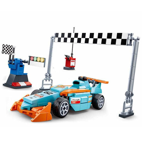 Image of F1 compatible race car speed racer repair building block set bricks Racing venues motorcycle game Fit Lego