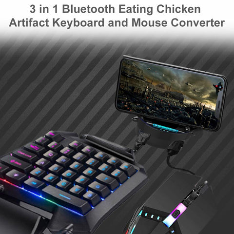 Image of Single Hand 3-in-1 Gaming Keyboard Set Phones Gaming Keyboard And Mouse One Handed Gaming Keyboard And Mouse Combo