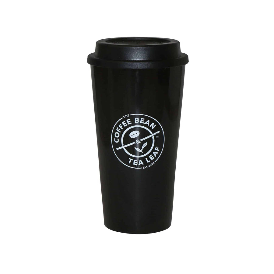 Black Tumbler with Screw-on Sipping Lid 16oz