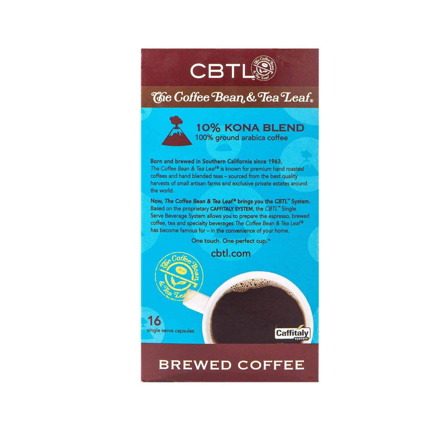 CBTL 10% Kona Blend Coffee Capsules Single Serve Pods from The Coffee Bean & Tea Leaf 16ct box - Back