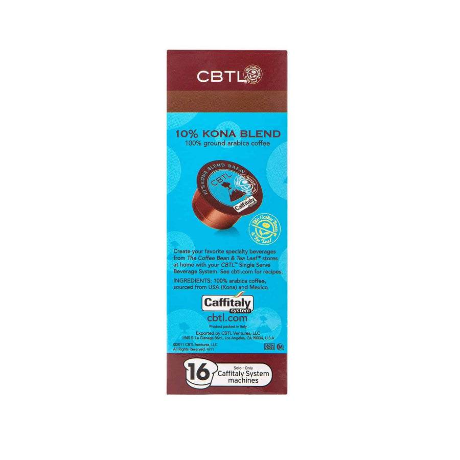 CBTL 10% Kona Blend Coffee Capsules Single Serve Pods from The Coffee Bean & Tea Leaf 16ct box - Side
