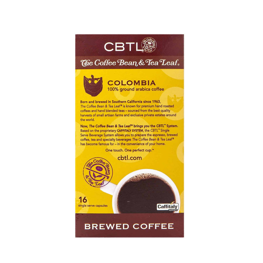 CBTL Colombia Coffee Capsules Single Serve Pods from The Coffee Bean & Tea Leaf 16ct box - Back