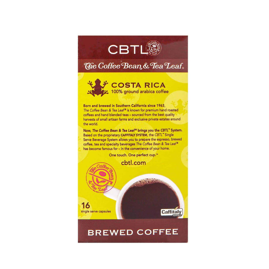 CBTL Costa Rica Coffee Capsules Single Serve Pods from The Coffee Bean & Tea Leaf 16ct box - Back