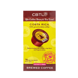 CBTL Costa Rica Coffee Capsules Single Serve Pods from The Coffee Bean & Tea Leaf 16ct box