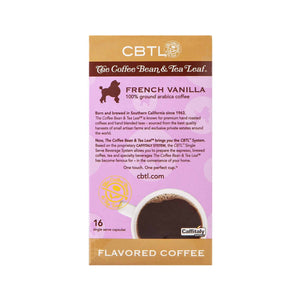 CBTL French Vanilla Coffee Capsules Single Serve Pods from The Coffee Bean & tea Leaf 16ct box - Back