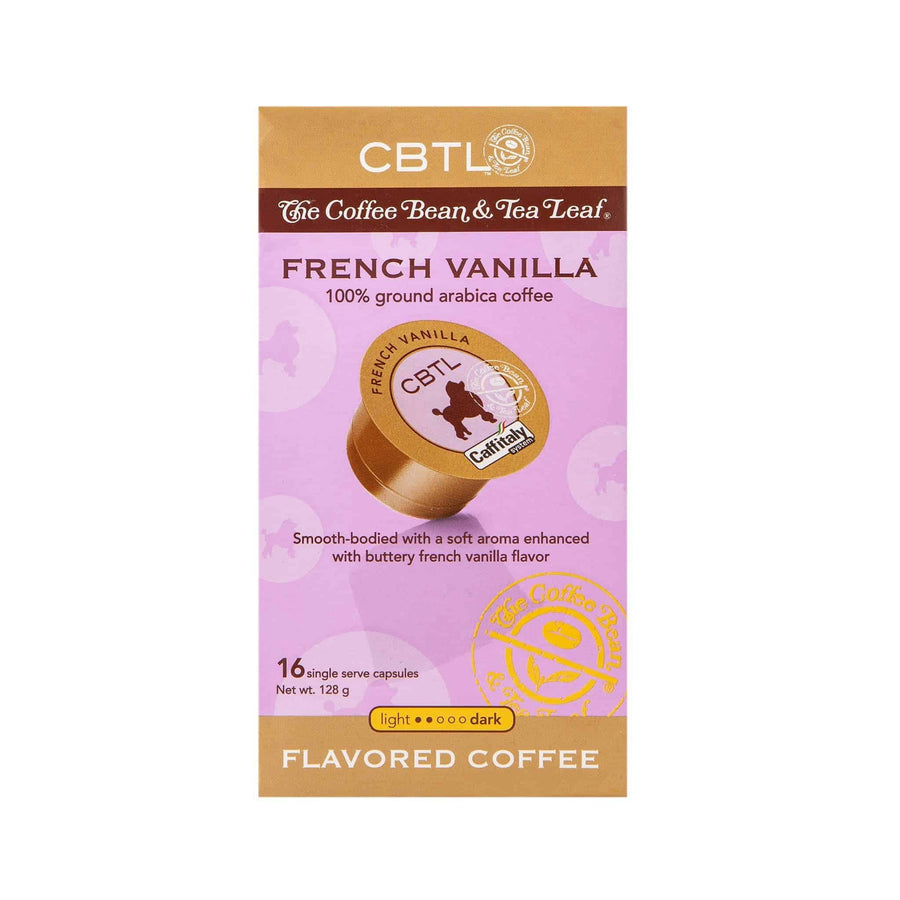 CBTL French Vanilla Coffee Capsules Single Serve Pods from The Coffee Bean & tea Leaf 16ct box
