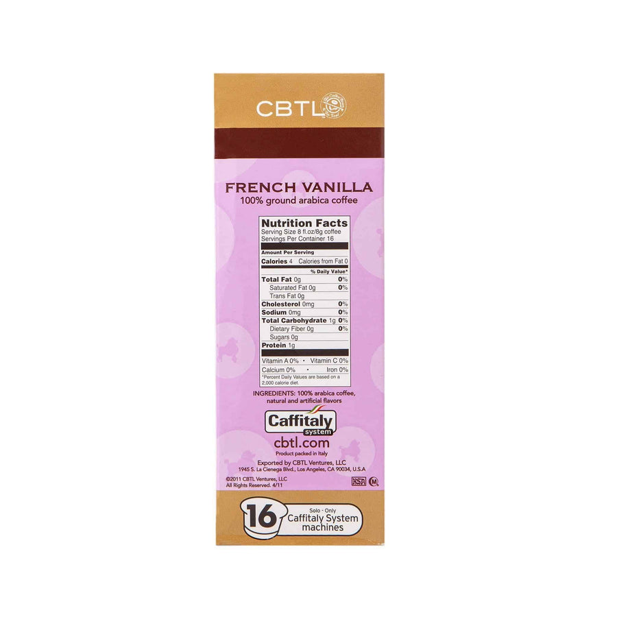 CBTL French Vanilla Coffee Capsules Single Serve Pods from The Coffee Bean & tea Leaf 16ct box - Side 1