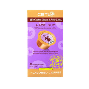 CBTL Hazelnut Flavored Coffee Capsules Single Serve Pods from The Coffee Bean & Tea Leaf 16ct box