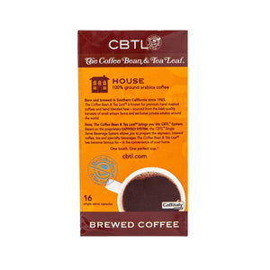 CBTL House Coffee Capsules Single Serve Pods from The Coffee Bean & Tea Leaf 16ct Box - Back