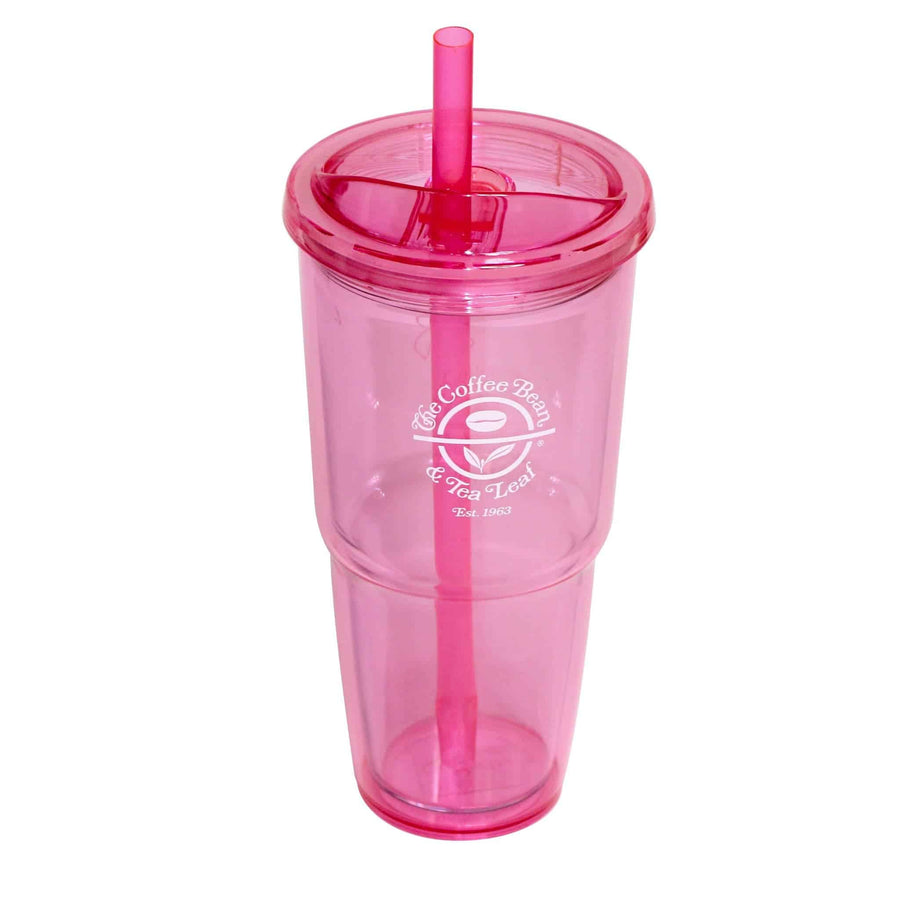 Pink Acrylic tumbler with straw from The Coffee Bean & Tea Leaf