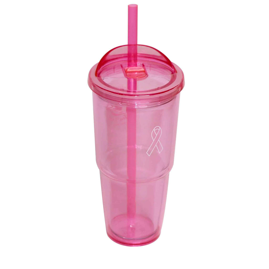 Pink Acrylic Tumbler with Straw 16oz