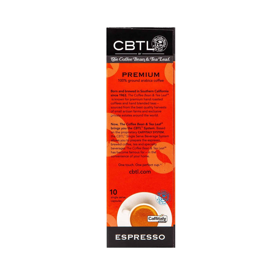 CBTL Premium Espresso Capsules Single Serve Pod from The Coffee Bean & Tea Leaf 10ct box - Back