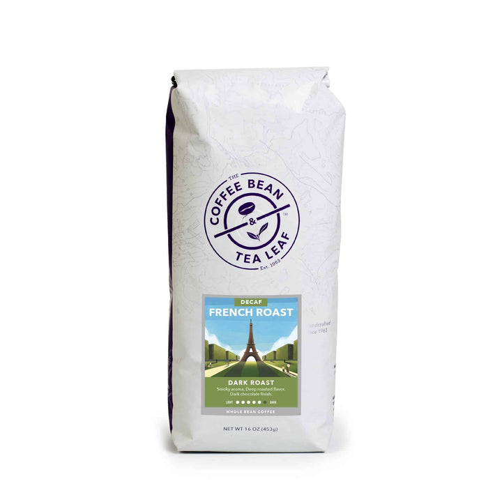 Decaf French Roast Whole Bean Coffee from The Coffee Bean & Tea Leaf 1lb white bag