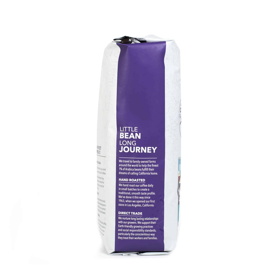 Decaf French Roast Whole Bean Coffee from The Coffee Bean & Tea Leaf 1lb white bag side 1