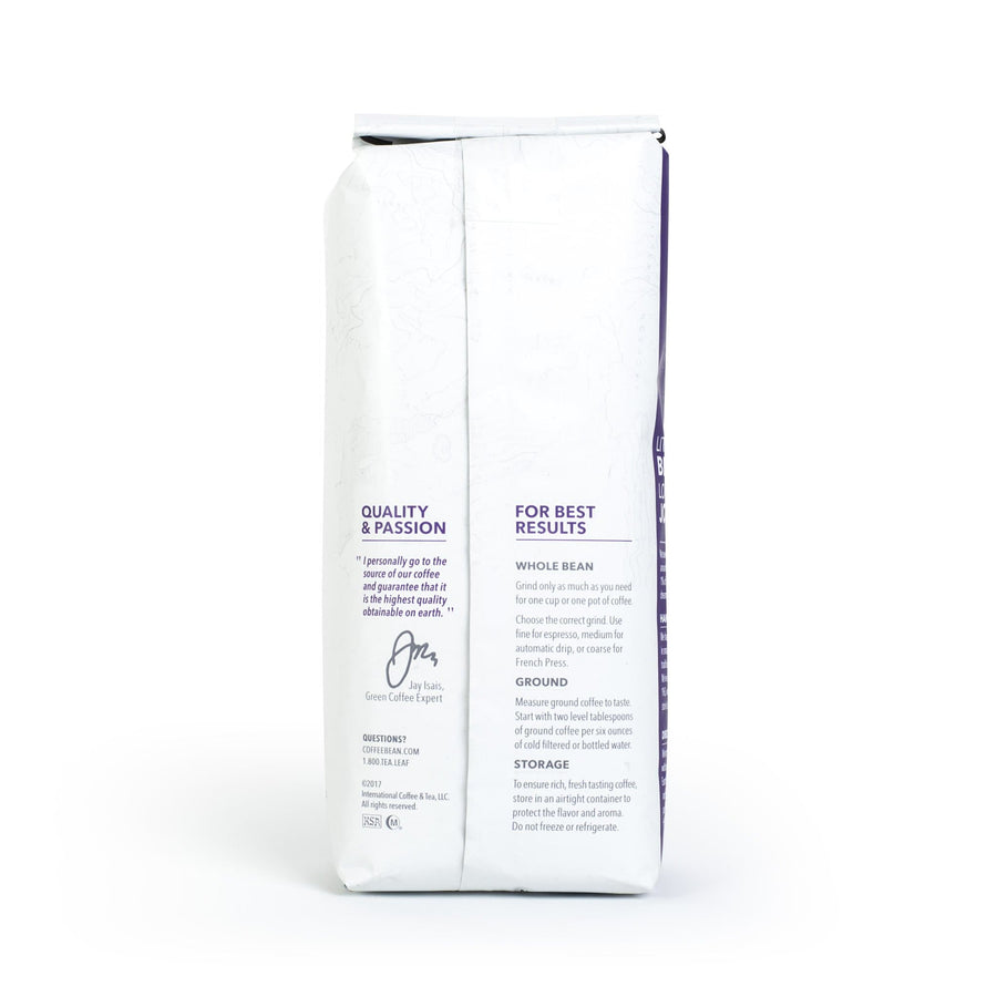 Decaf French Roast Whole Bean Coffee from The Coffee Bean & Tea Leaf 1lb white bag back